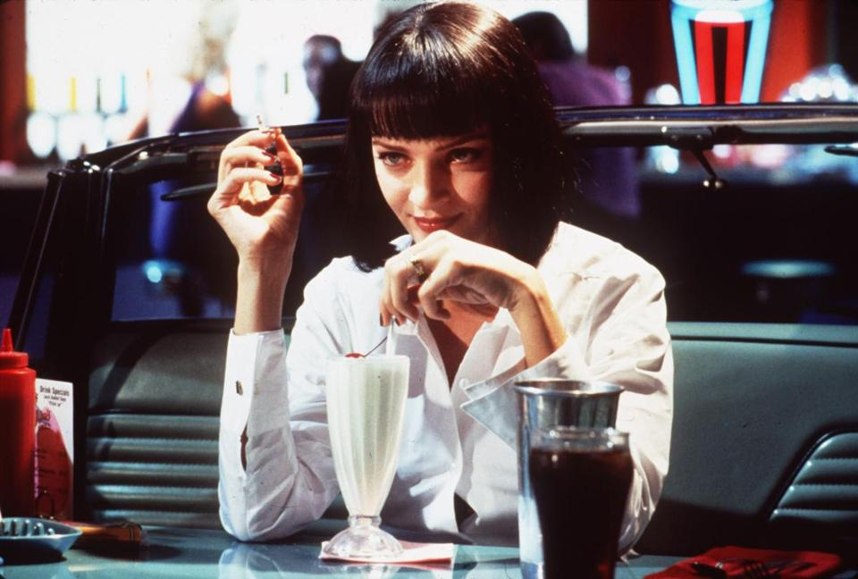 "Uma Thurman in Quentin Tarantino's ""Pulp Fiction."""