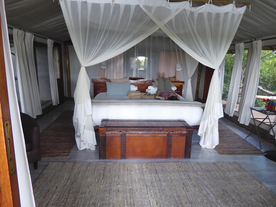 Relaxing in a tented room in Tubu Tree camp after a long game drive.
