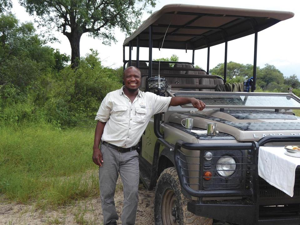 Veteran Botswana guide Kgaga Kgaga during a tea break on a game drive from Tubu Tree camp.
