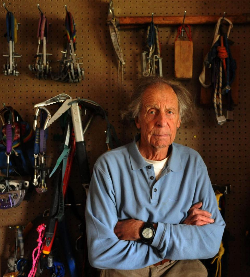 Mr. Beckey, with climbing equipment he stored in the garage of his home in Seattle.