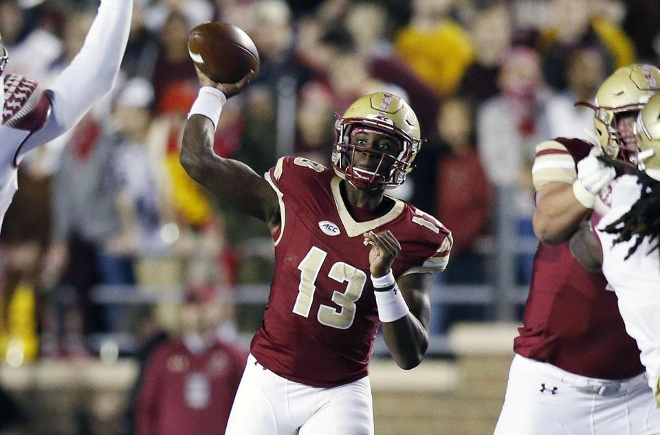 Boston College quarterback Anthony Brown (13) passes during the first half of an NCAA college football game against Florida State in Boston, Friday, Oct. 27, 2017. (AP Photo/Michael Dwyer)