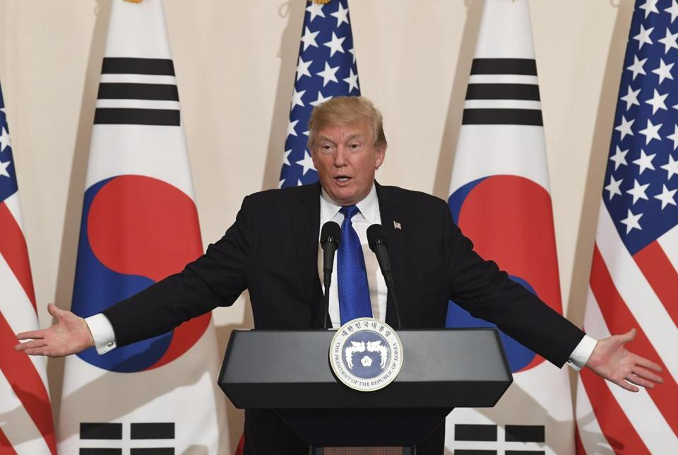 President Trump during a visit to South Korea.