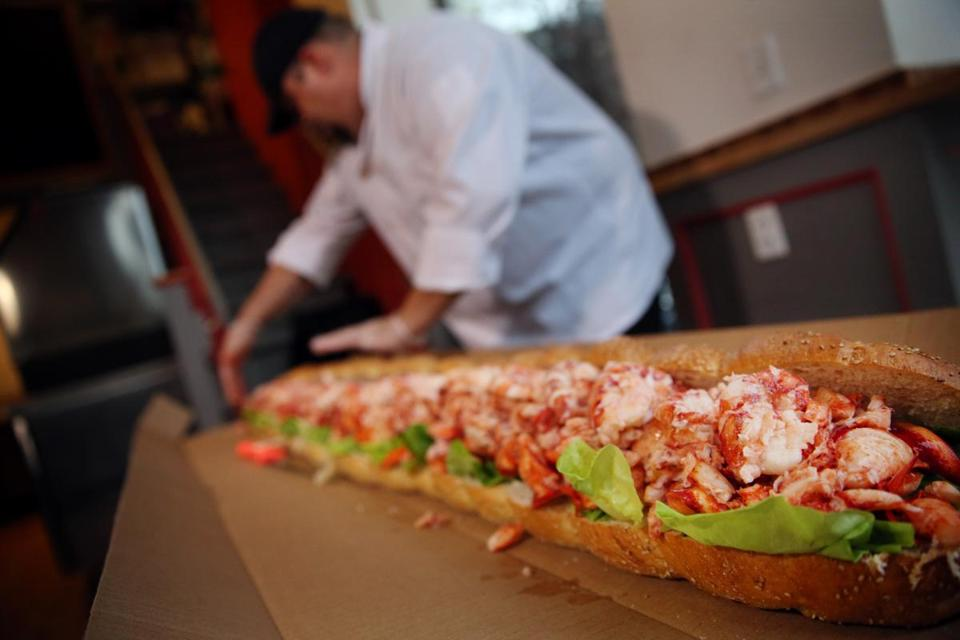 The 5-foot-long roll — dubbed the Monstah — made with meat from 80 lobsters, sourced from Maine, designed to feed about 60 seafood lovers.