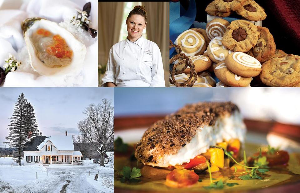 Top row: Ocean House chef Jennifer Backman and one of her dishes; The White Mountains Inn to Inn Holiday Cookie and Candy Tour includes treats from the Inn at Crystal Lake. Bottom from left: The Lincoln Inn and Restaurant and nut-crusted Atlantic halibut on a bed of summer vegetables at the Old Inn on the Green.