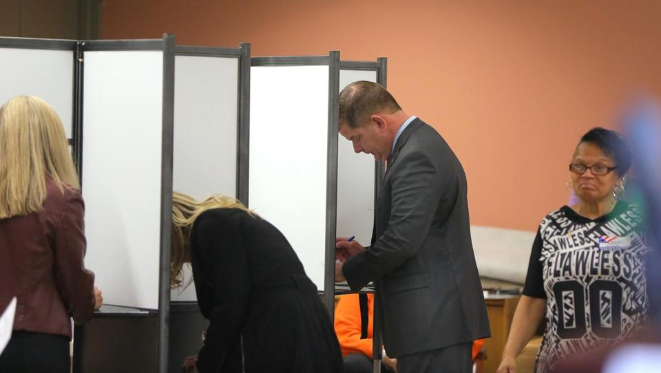 Mayor Martin J. Walsh cast his ballot early Tuesday in Dorchester.