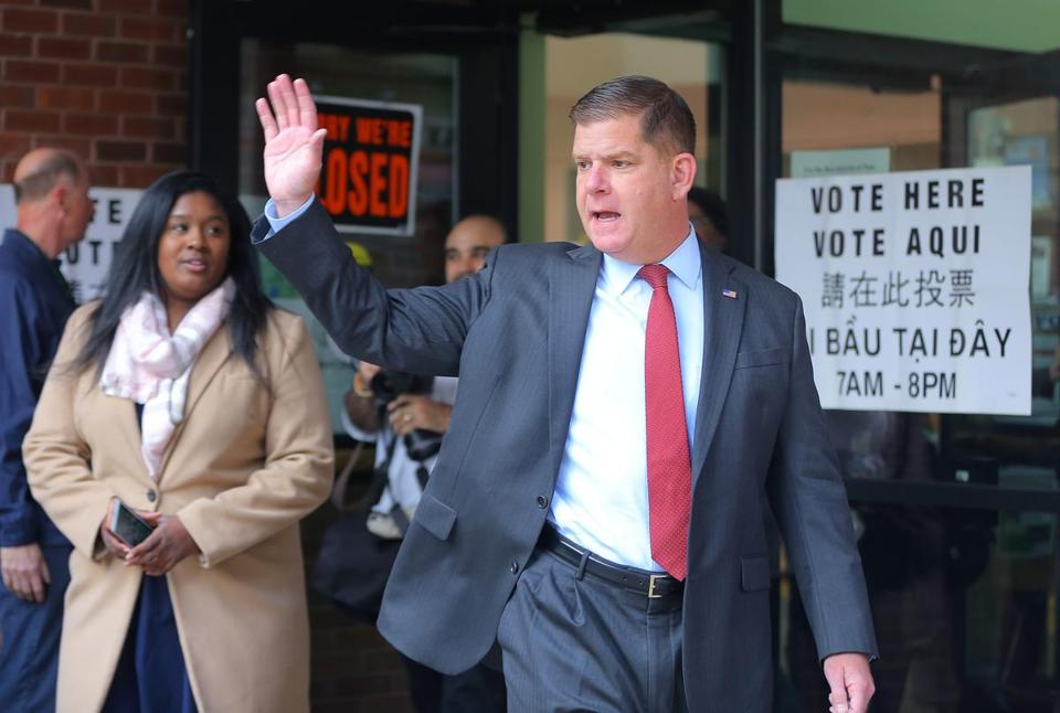 Mayor Martin J. Walsh acknowledged the media after he voted at the Lower Mills Branch of the Boston Public Library.