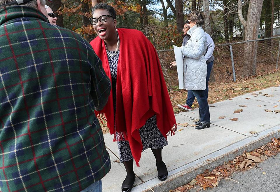 Yvonne Spicer greeted supporters at the Potter Road Elementary School on Tuesday.