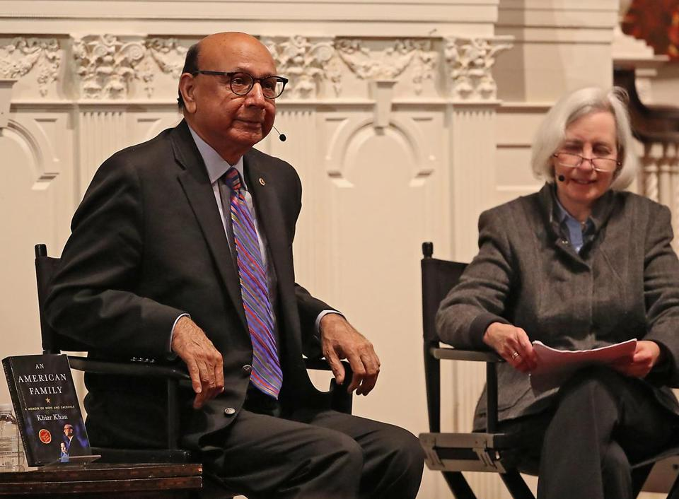 Khizr Khan, the father of an American Muslim soldier killed in Iraq, spoke in Cambridge on Monday about his books.