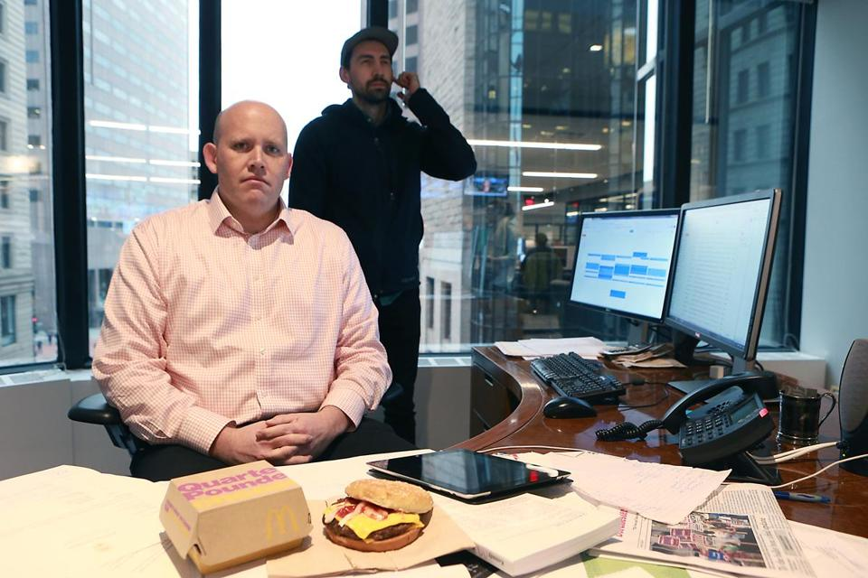Nestor Ramos with his trusty bodyguard (aka Globe reporter Steve Annear), getting ready to eat President Trump's preferred McDonald's meal.