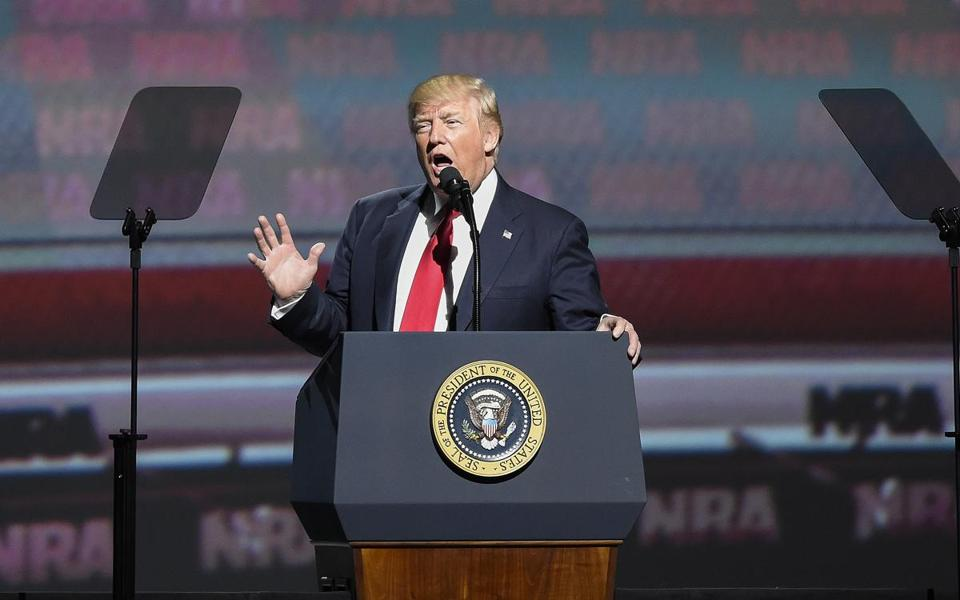 "President Trump spoke in April at the NRA Leadership Forum in Atlanta. Trump told attendees: ""You came through for me, and I am going to come through for you. You have a true friend and champion in the White House."""