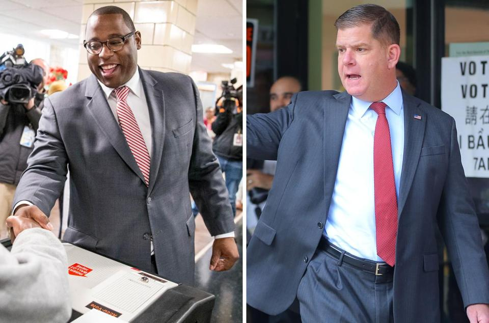 City Councilor Tito Jackson (left) and Mayor Martin J. Walsh before they cast their ballots on Tuesday. The two candidates are vying for a four-year term to run the city.