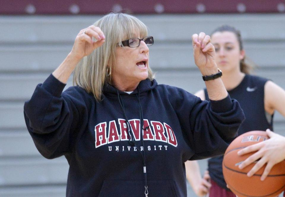 Harvard women's Basketball Coach Kathy Delaney Smith speaks with junior Ali Curtis (#3) during practice. Smith is approaching the record for victories in the Ivy league . Josh Reynolds for The Boston Globe (Sports, whitmer)