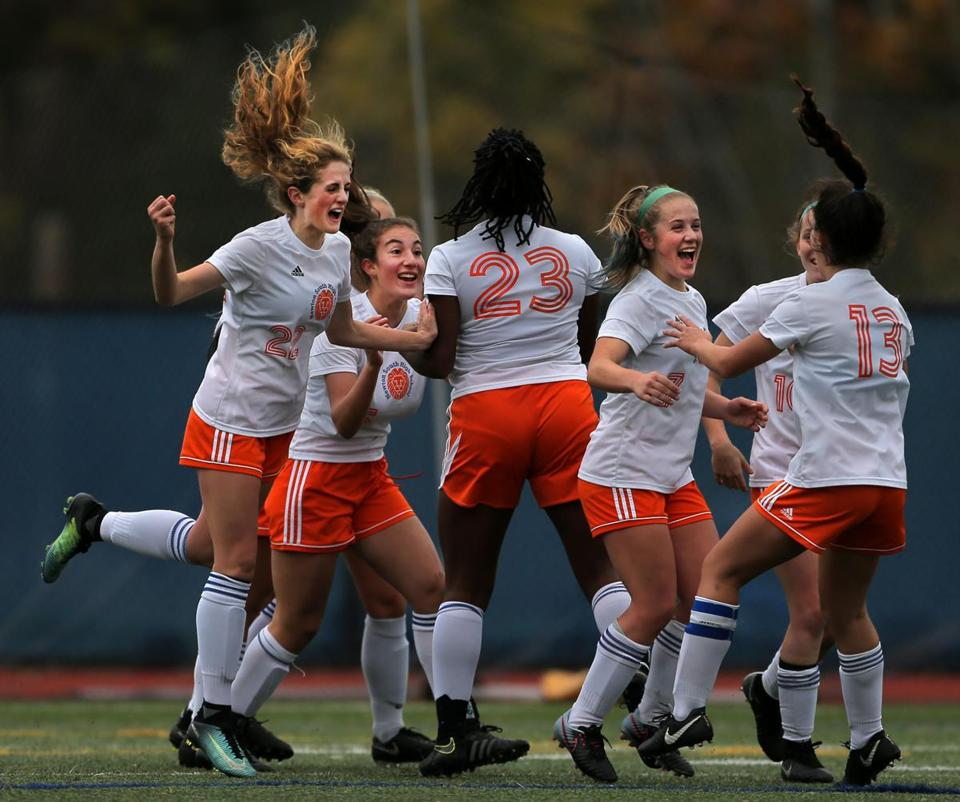 Newton, MA - 11/07/17 - Newton South celebrates a late first half goal in the Division 1 South girls' soccer quarterfinal against Marshfield. (Lane Turner/Globe Staff) Reporter: (Nathaniel Weitzer) Topic: (08schnewtonsouth)