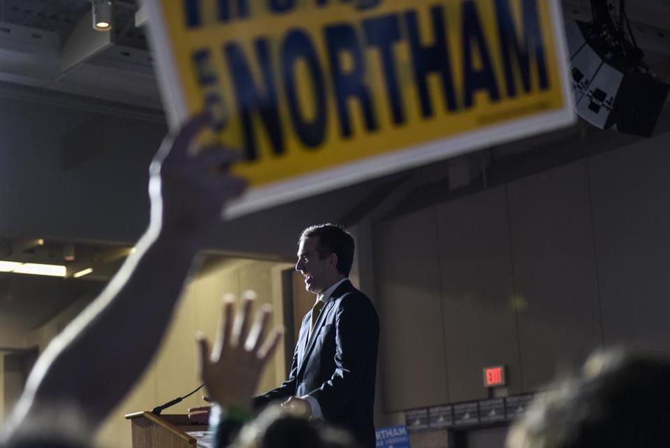 Virginia governor-elect Ralph Northam addresses supporters Tuesday at George Mason University in Fairfax, VA.