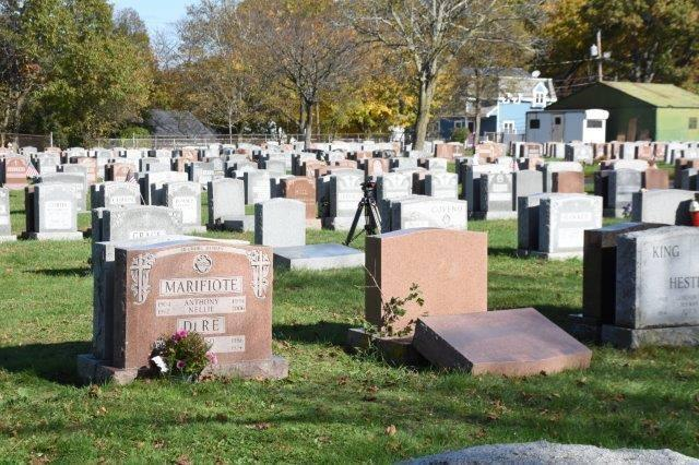 "All seven of the headstones were ""reset"" by around 3:30 p.m. Wednesday."