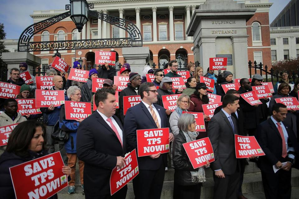 Temporary Protected Status supporters rallied at the State House last week.