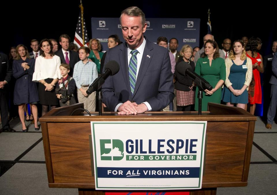 Ed Gillespie, an adviser in the George W. Bush White House and former chairman of the national party, was soundly defeated in the Virginia governor's race Tuesday.