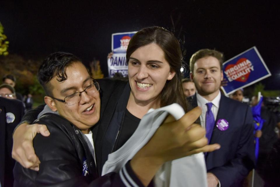 A supporter congratulated Danica Roem (center) after she won a seat in the Virginia House of Delegates.