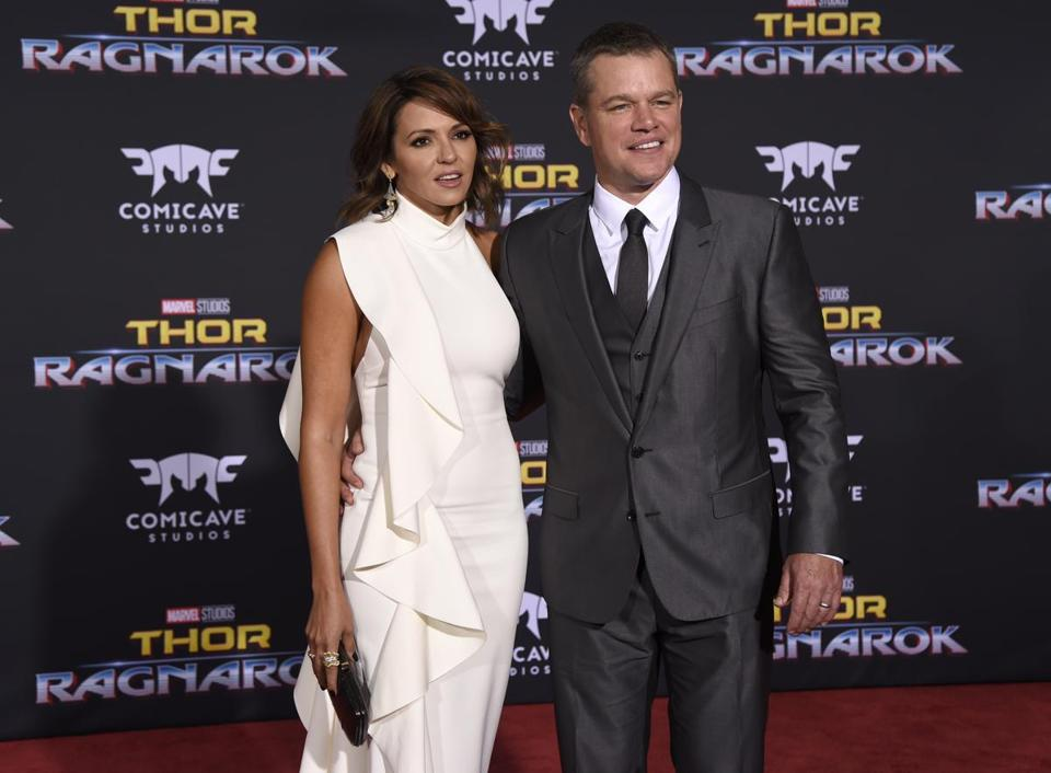 "Matt Damon and his wife, Luciana Barroso, arriving at the world premiere of ""Thor: Ragnarok"" in Los Angeles in October."