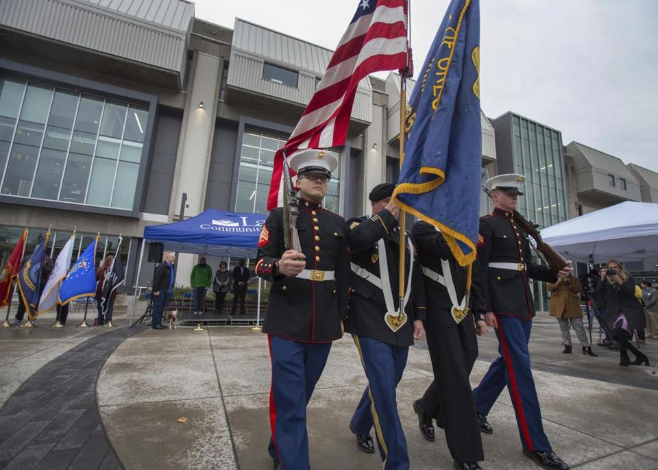 A color guard closes the Veterans Appreciation Honors Ceremony at Lane Community College in Eugene, Ore. on Nov. 8.