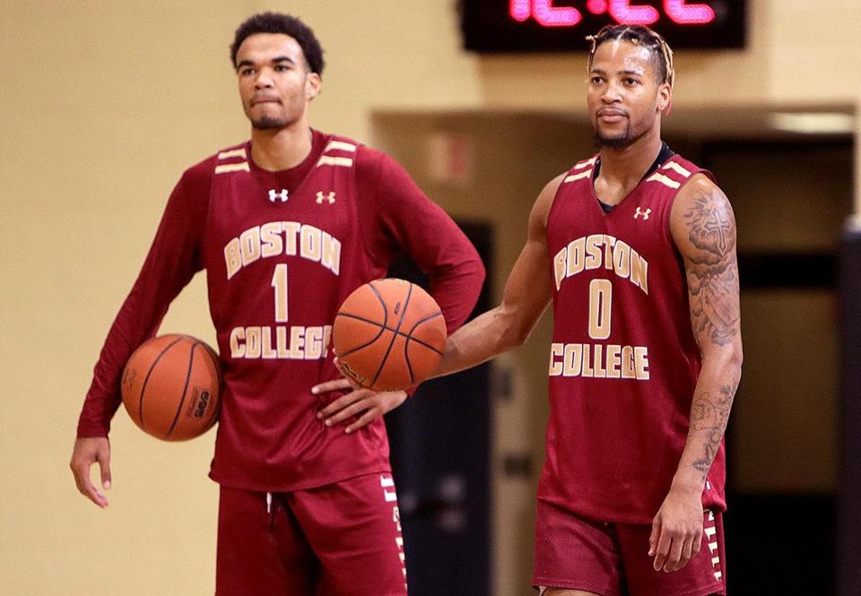 Chestnut Hill, MA - 11/03/2017 - Boston College Eagles guard Jerome Robinson (1) and guard Ky Bowman (0), at Boston College basketball media day. - (Barry Chin/Globe Staff), Section: Sports, Reporter: Unknown, Topic: 03BC basketball media day, LOID: 8.3.4206000830.