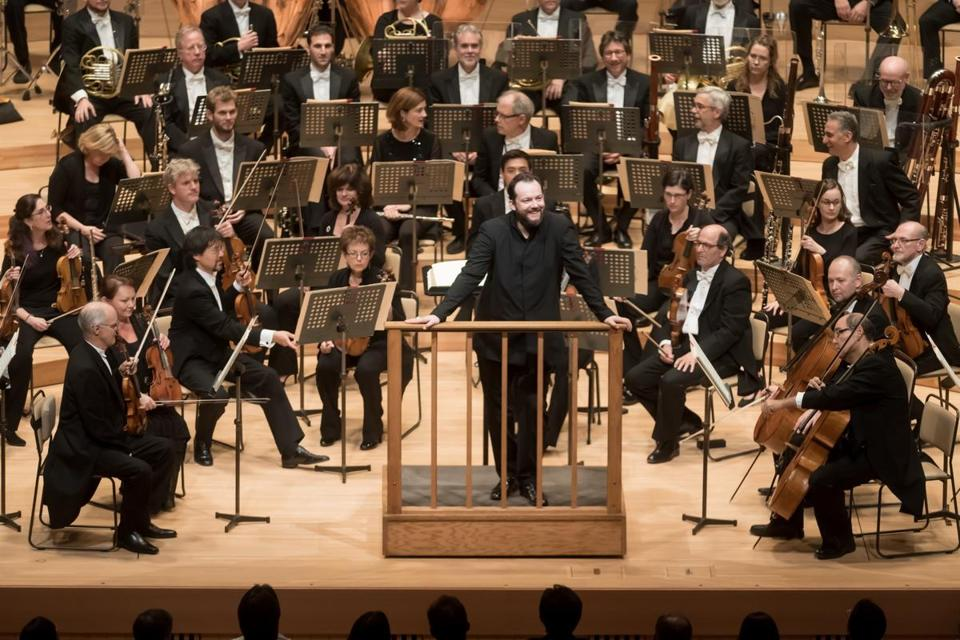 Music director Andris Nelsons and the Boston Symphony Orchestra in Suntory Hall in Tokyo.