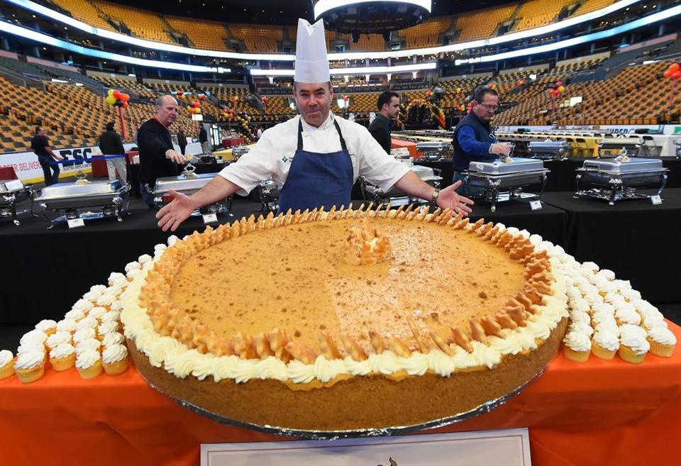 These days, TD Garden executive chef Kevin Doherty has the process of putting together a 500-pound pie down to a science.