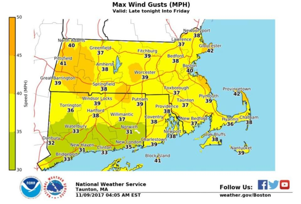Wind gusts Thursday into Friday.