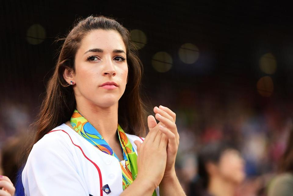 Gymnast Aly Raisman at Fenway Park last year.