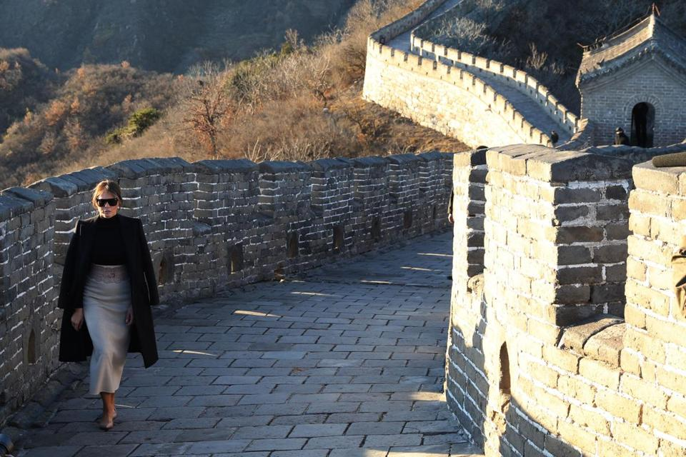 Melania Trump toured the Great Wall of China Friday.