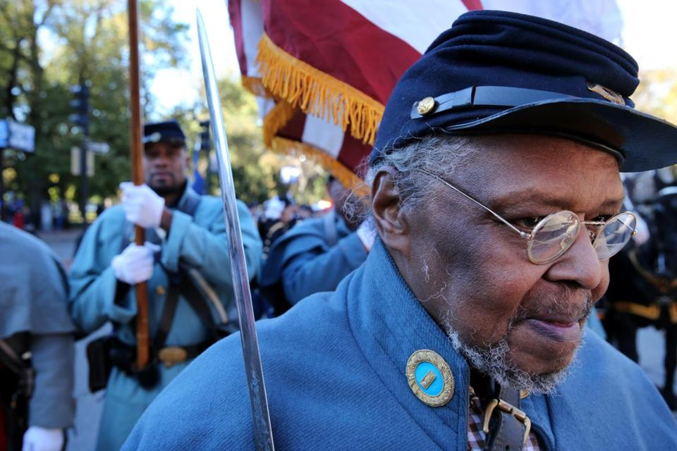 Benny White prepared to march with the 54th Massachusetts Volunteer Regiment.