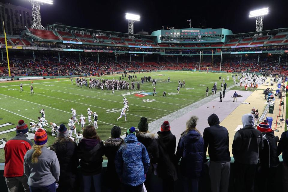 Boston-11/10/17- Brown vs Dartmouth at Fenway Park- Fans cheer on from the bleachers as Dartmouth takes the field. John Tlumacki/Globe Staff(sports)