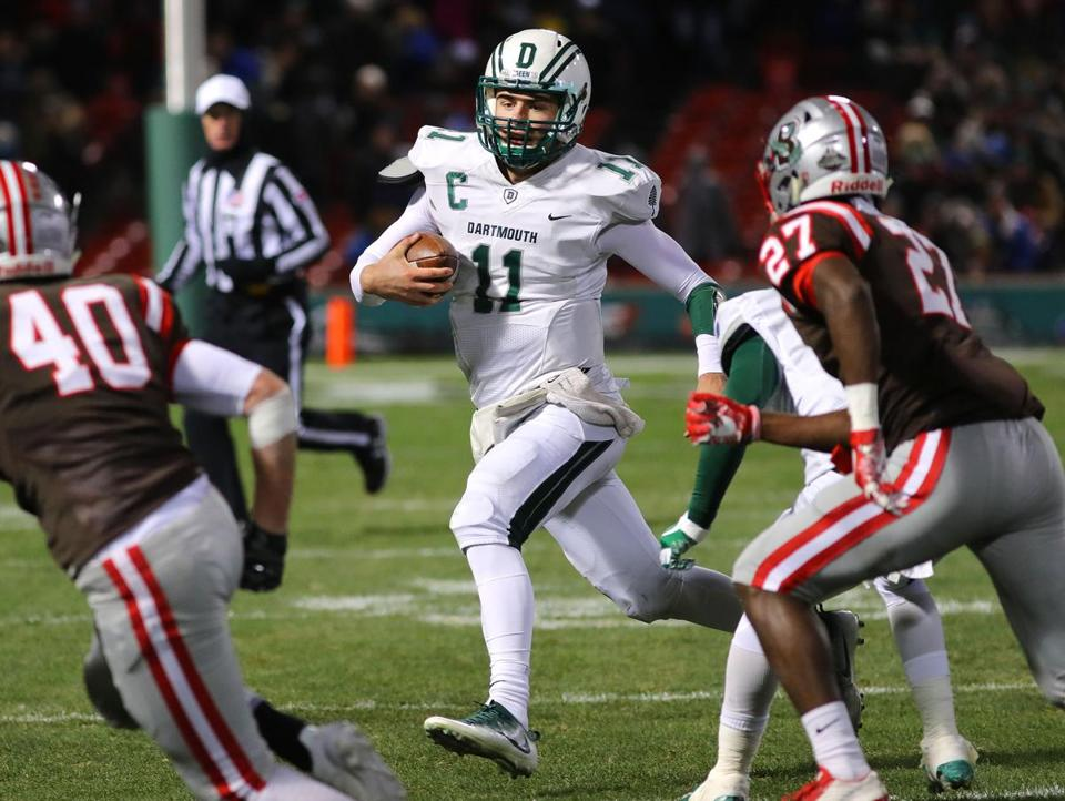 Dartmouth QB Jack Heneghan ran for a short gain in the second quarter.