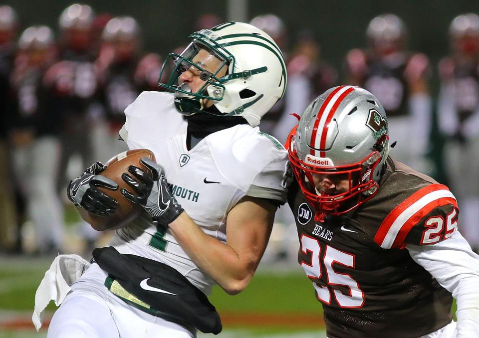 Dartmouth's Hunter Hagdorn hauled in a long pass against Brown's Jay Williams.