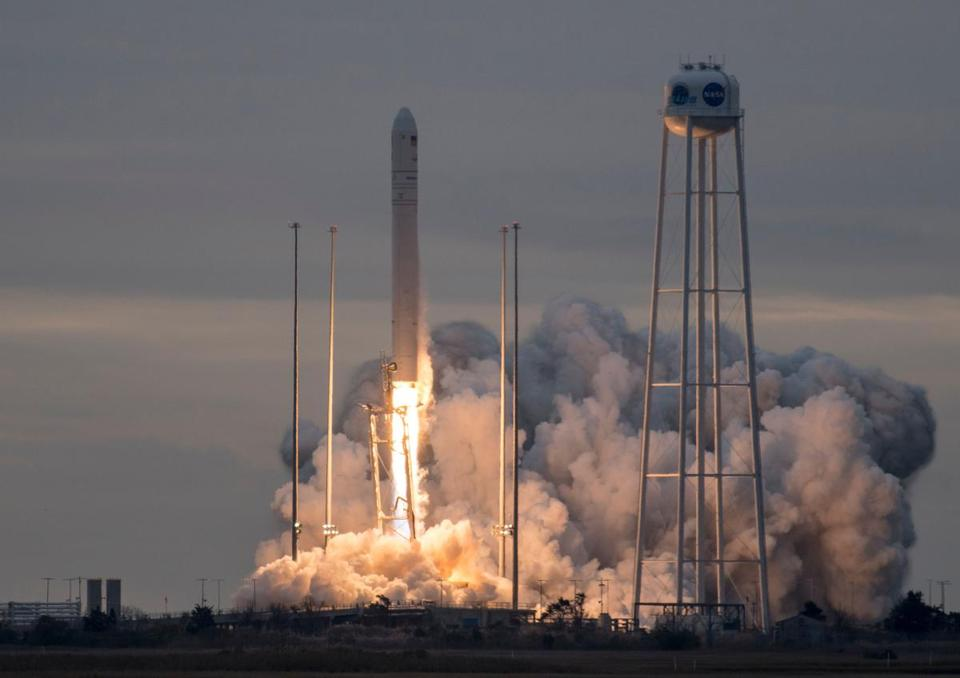 "The Orbital ATK Antares rocket, with the Cygnus spacecraft onboard, launches from Pad-0A, on November 12, 2017, at NASA's Wallops Flight Facility in Virginia. Cygnus is packed with 7,400 pounds (3,350 kilograms) of food and supplies for the astronauts living in the International Space Station. The cargo ship is also transporting 14 miniature satellites, known as CubeSats. Cygnus should arrive at the orbiting outpost on November 14. / AFP PHOTO / NASA / Bill INGALLS / RESTRICTED TO EDITORIAL USE - MANDATORY CREDIT ""AFP PHOTO / NASA/BILL INGALLS/HANDOUT"" - NO MARKETING NO ADVERTISING CAMPAIGNS - DISTRIBUTED AS A SERVICE TO CLIENTS BILL INGALLS/AFP/Getty Images"