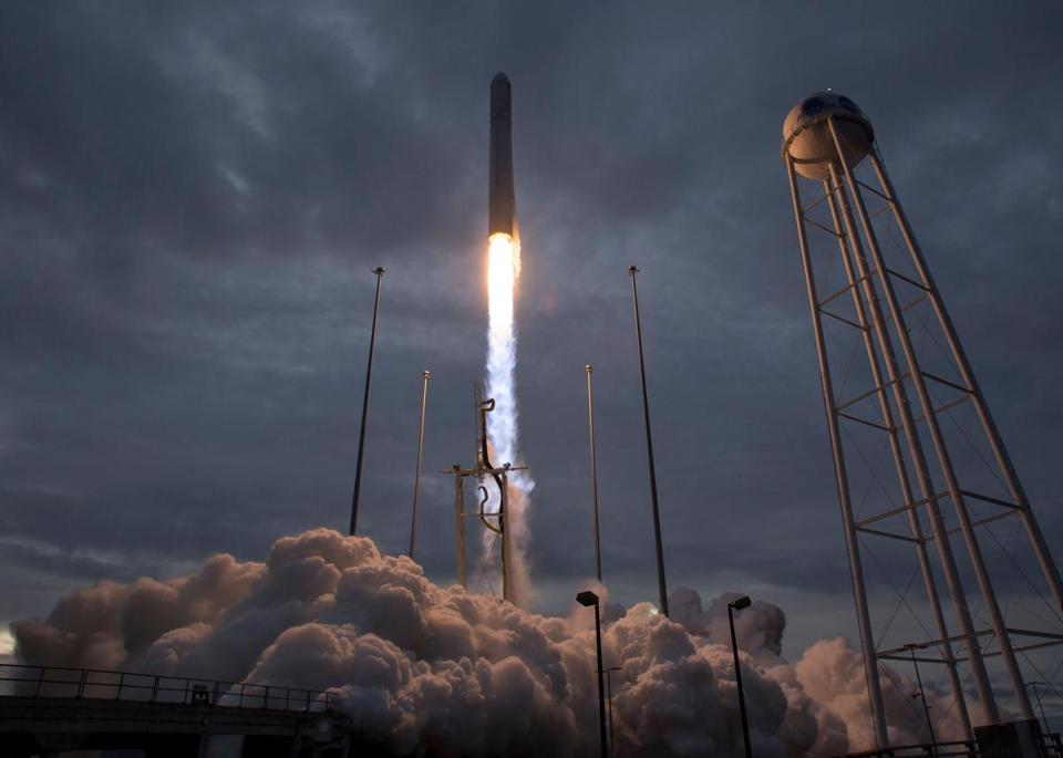 "In this image released by NASA, the Orbital ATK Antares rocket, with the Cygnus spacecraft onboard, launches from Pad-0A, on November 12, 2017, at NASA's Wallops Flight Facility in Virginia. Cygnus is packed with 7,400 pounds (3,350 kilograms) of food and supplies for the astronauts living in the International Space Station. The cargo ship is also transporting 14 miniature satellites, known as CubeSats. Cygnus should arrive at the orbiting outpost on November 14. / AFP PHOTO / NASA / Bill INGALLS / RESTRICTED TO EDITORIAL USE - MANDATORY CREDIT ""AFP PHOTO / NASA/BILL INGALLS/HANDOUT"" - NO MARKETING NO ADVERTISING CAMPAIGNS - DISTRIBUTED AS A SERVICE TO CLIENTS BILL INGALLS/AFP/Getty Images"