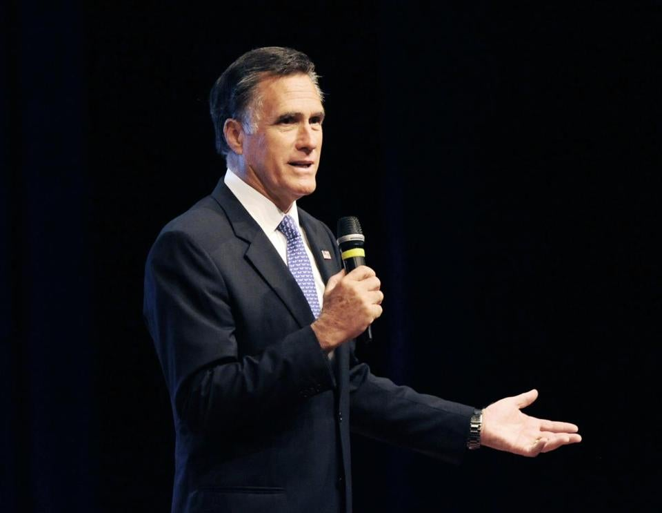 Mitt Romney spoke in October 2016 at Lake Michigan College in Benton Harbor, Mich.