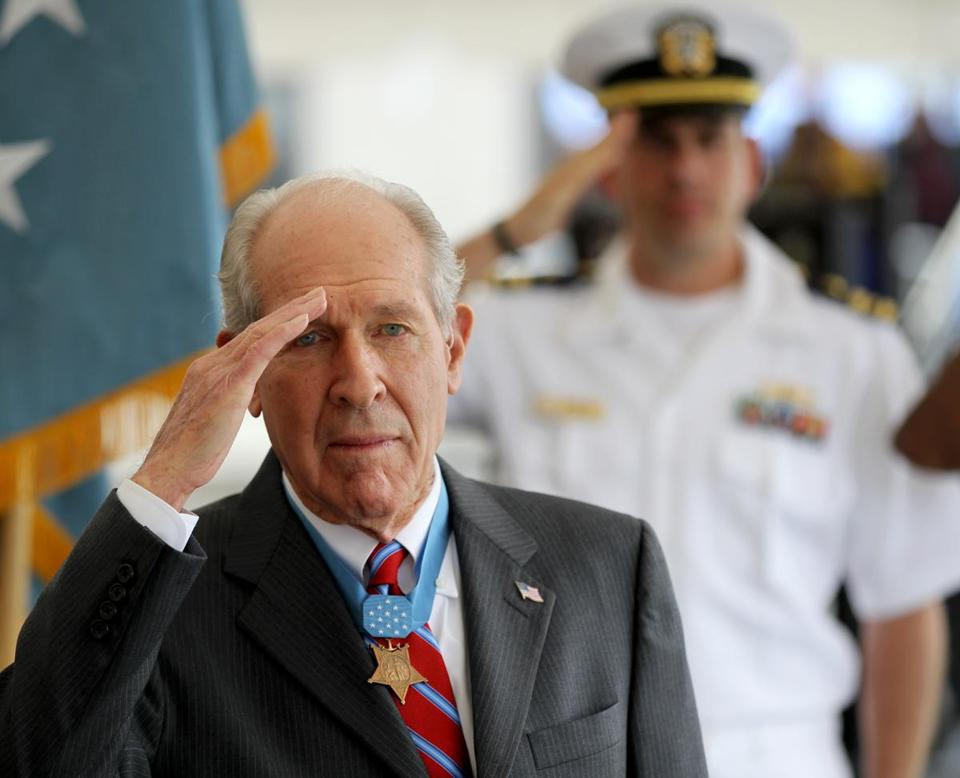 Thomas J. Hudner Jr. saluted in 2012 at a ceremony in Charlestown celebrating the naming of a ship after him.