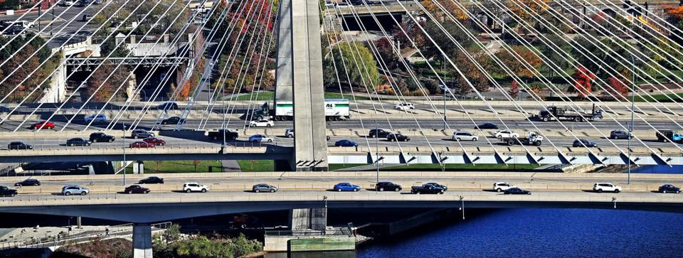 Traffic on the Leonard P. Zakim Bunker Hill Memorial Bridge.