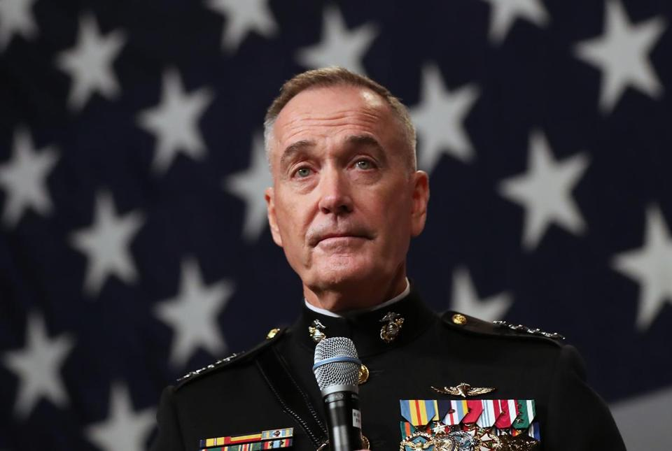 BOSTON, MA - 11/13/2017:Marine Corps General Joseph Dunford, Chairman Joint Chiefs of Staff speaking. The 242nd Birthday of the United States Marine Corps Luncheon. Nearly 2,000 Marines and supporters and Medal of Honor Recipients will gather to celebrate the Birthday of the U.S. Marine Corps at the Boston Convention and Exposition Center South Boston. ( ) SECTION: METRO TOPIC 14semperfi
