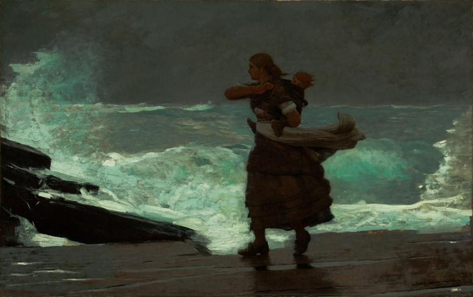 """The Gale"" is one of 50 works by Winslow Homer in ""Coming Away: Winslow Homer and England,"" at the Worcester Art Museum."