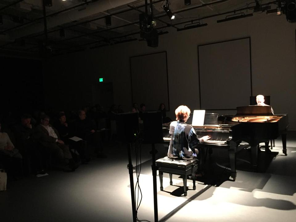 Quattro Mani (Susan Grace and Steven Beck) performed in Cambridge Monday.