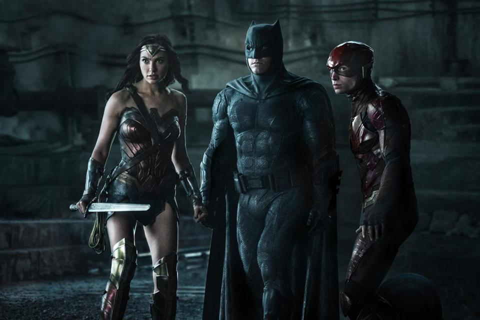 "Gal Gadot is Wonder Woman, Ben Affleck is Batman, and Ezra Miller is The Flash in ""Justice League."""