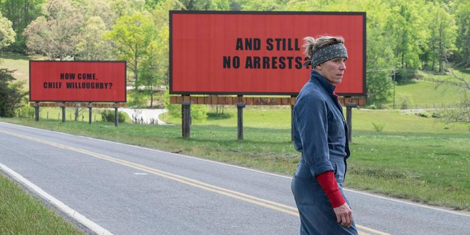 "Frances McDormand plays a murdered teen's mother in ""Three Billboards Outside Ebbing, Missouri."""