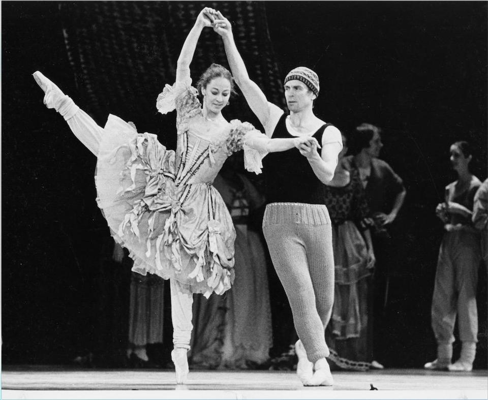 Ballerina Laura Young rehearsing with Rudolf Nureyev in 1982.