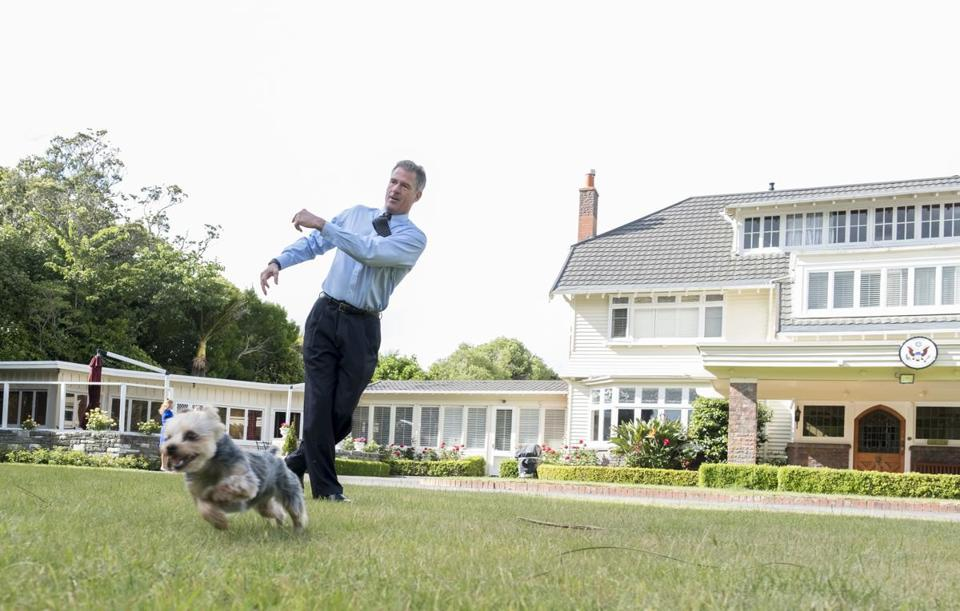 Scott Brown and the family dog, Gracie, at the ambassador's residence in Wellington, New Zealand.