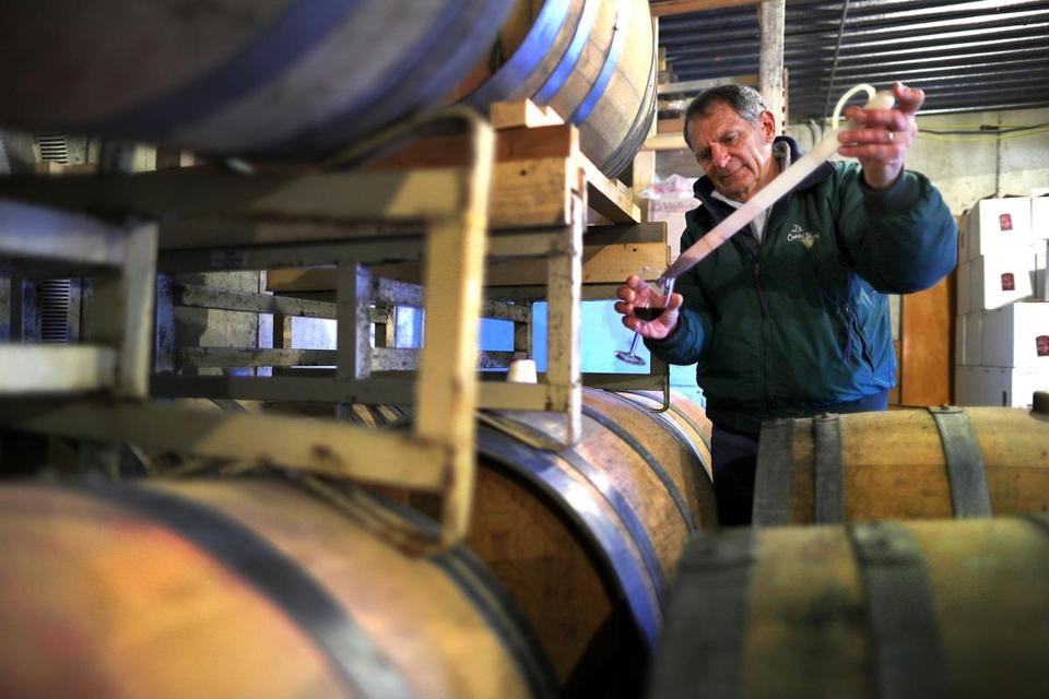 Dartmouth-11/15/17- David Neilson started Coastal Vineyards at the age of 54. He left the corporate world to pursue his passion. He draws a sample from an oak barrel in the winery. John Tlumacki/Globe Staff(business)