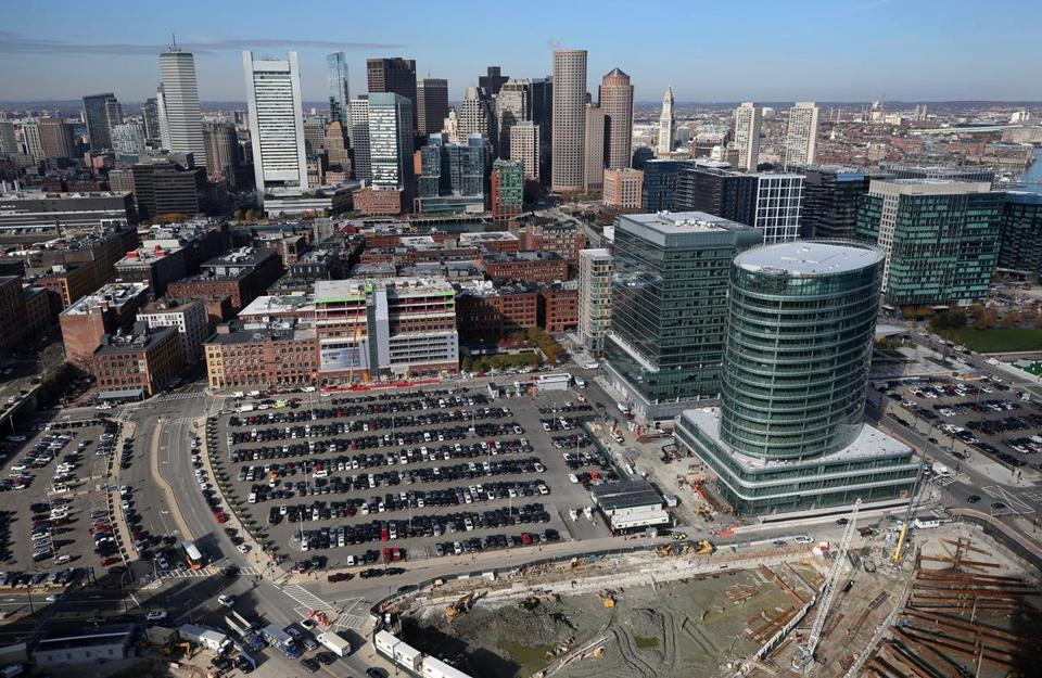 Congress Street is on the left in this view of the Seaport, one of Boston's hottest development districts.