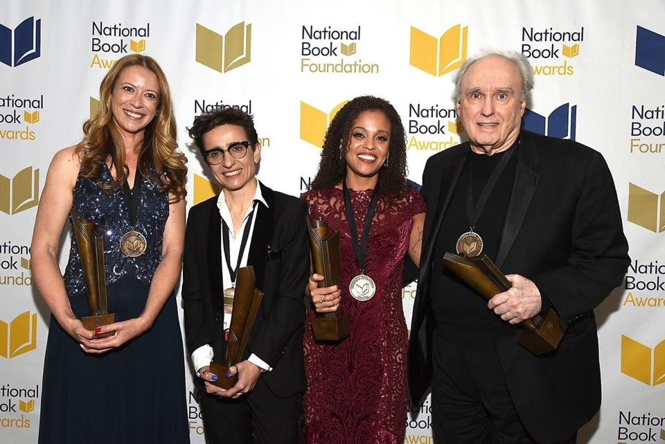 National Book Award winners (from left) Robin Benway, Masha Gessen, Jesmyn Ward, and Frank Bidart.