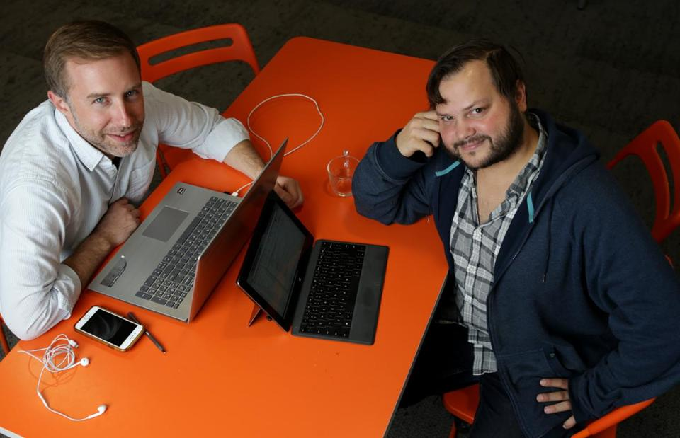 Cullen Schwarz (left) and Peter Kruskal, cofounder and VP of Data Science, respectively, of the startup DoneGood.